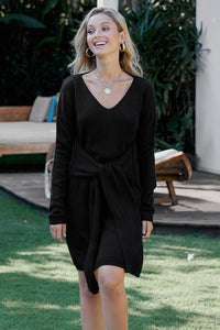 Black V-Neck Long Sleeve Sweater Dress
