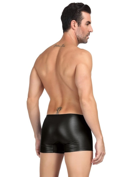 Black Zipper Front Sexy Faux Leather Underwear For Men