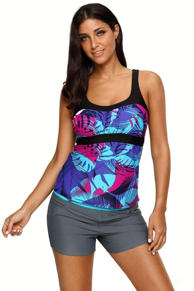 Blue Tropical Print Camisole Swimsuit Tankini Tops