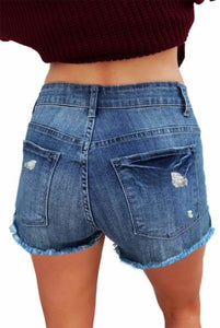 Stonewashed Ripped Blue Cotton Denim Shorts For Ladies