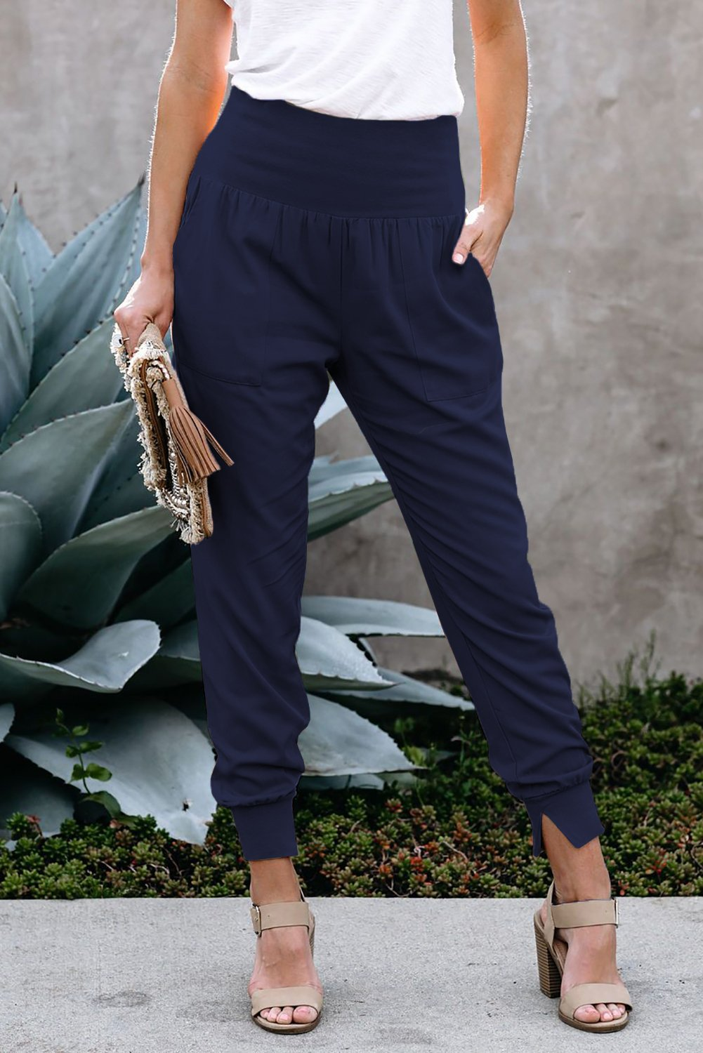Blue High Waisted Pocketed Joggers