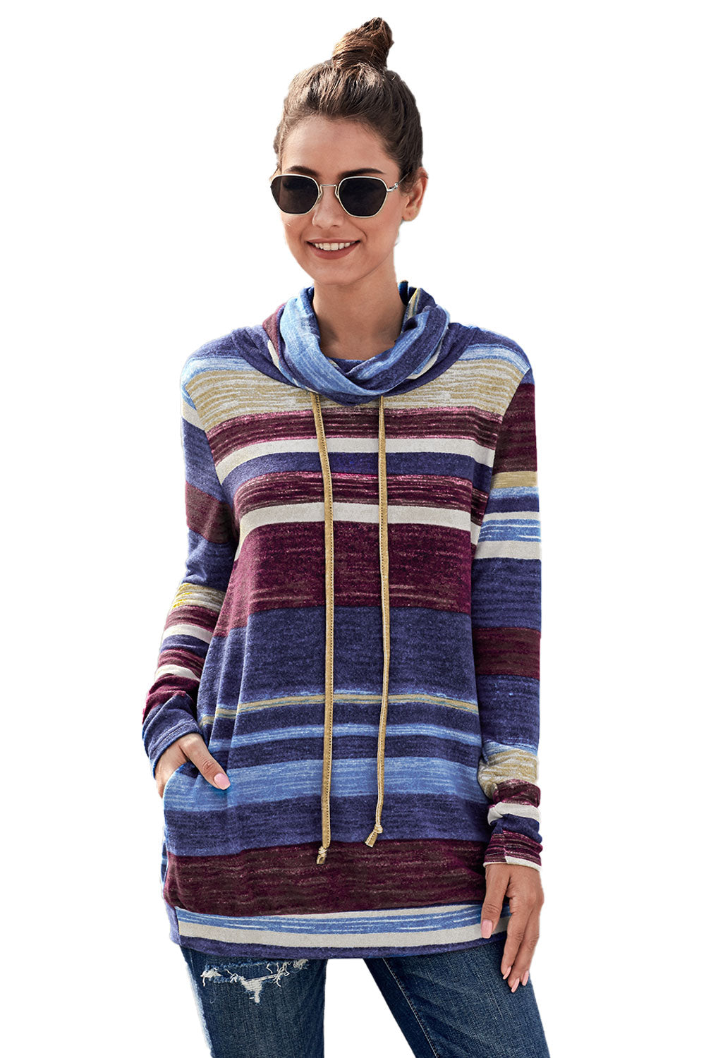 Blue Multicolored Cowl Neck Striped Sweatshirt