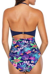 Blue Bodice Floral Print Bottom Maillot Swimsuit