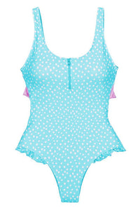 Blue Dotted Zip Front Tie Back Swimsuit