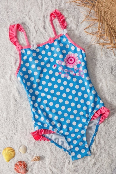 Girls Blue White Polka Dot One Piece Swimsuit