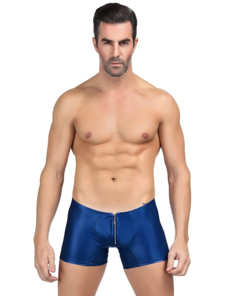 Blue Zipper Front Sexy Faux Leather Underwear For Men