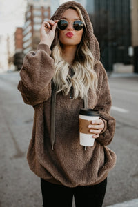 Brown Furry Pullover Ladies Hoodie