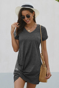 Black Short Sleeve Side Knot Casual Dress