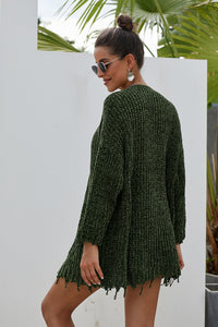 Green Chenille Knit Front Pockets Destroyed Cardigan