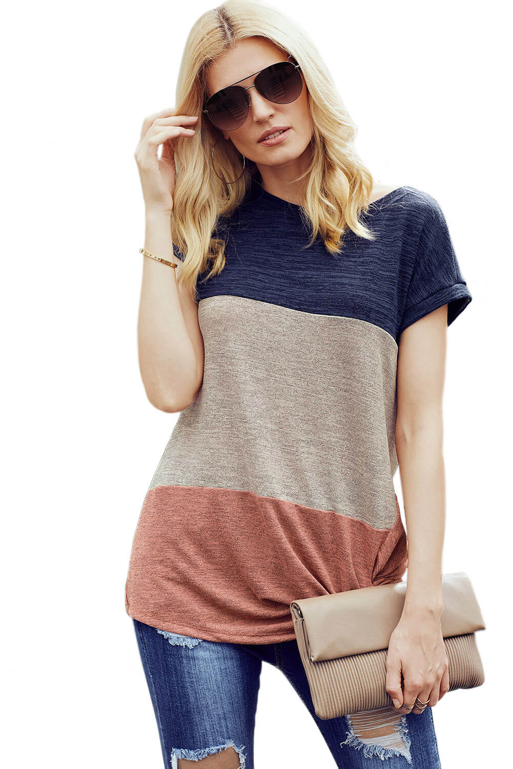 Navy Blue Color Block Short Sleeve Ladies T-Shirt