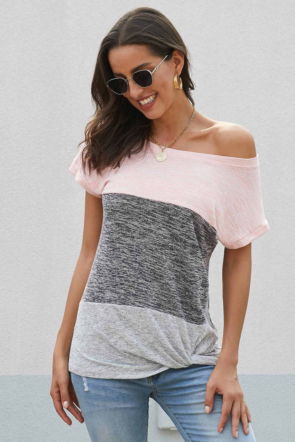 Pink Color Block Short Sleeve Ladies T-Shirt