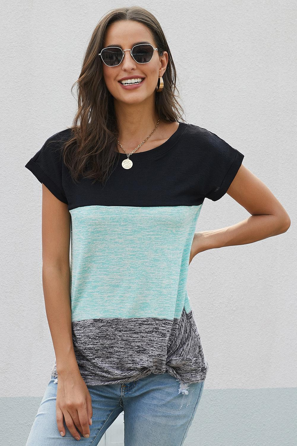 Mint Green Color Block Short Sleeve Ladies T-Shirt