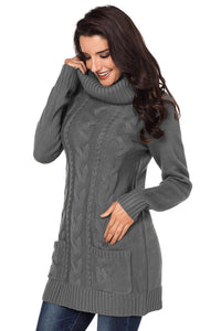 Grey Cable Knit Cowl Neck Sweater Dress
