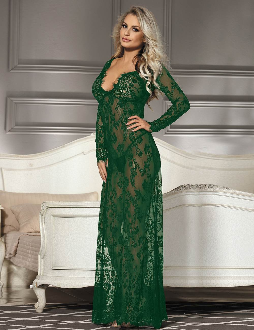 Dark Green Long Sleeve Sheer Floral Lace Sleepwear Lingerie Dress