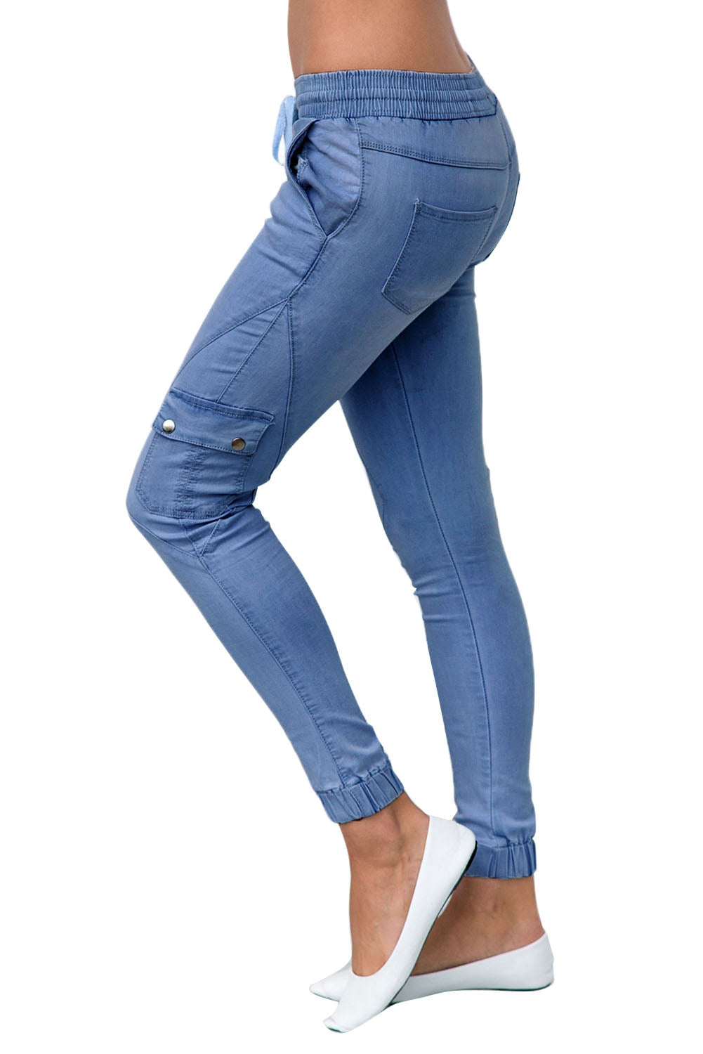 Dusty Blue Elastic Waist Pocket Denim Jeans