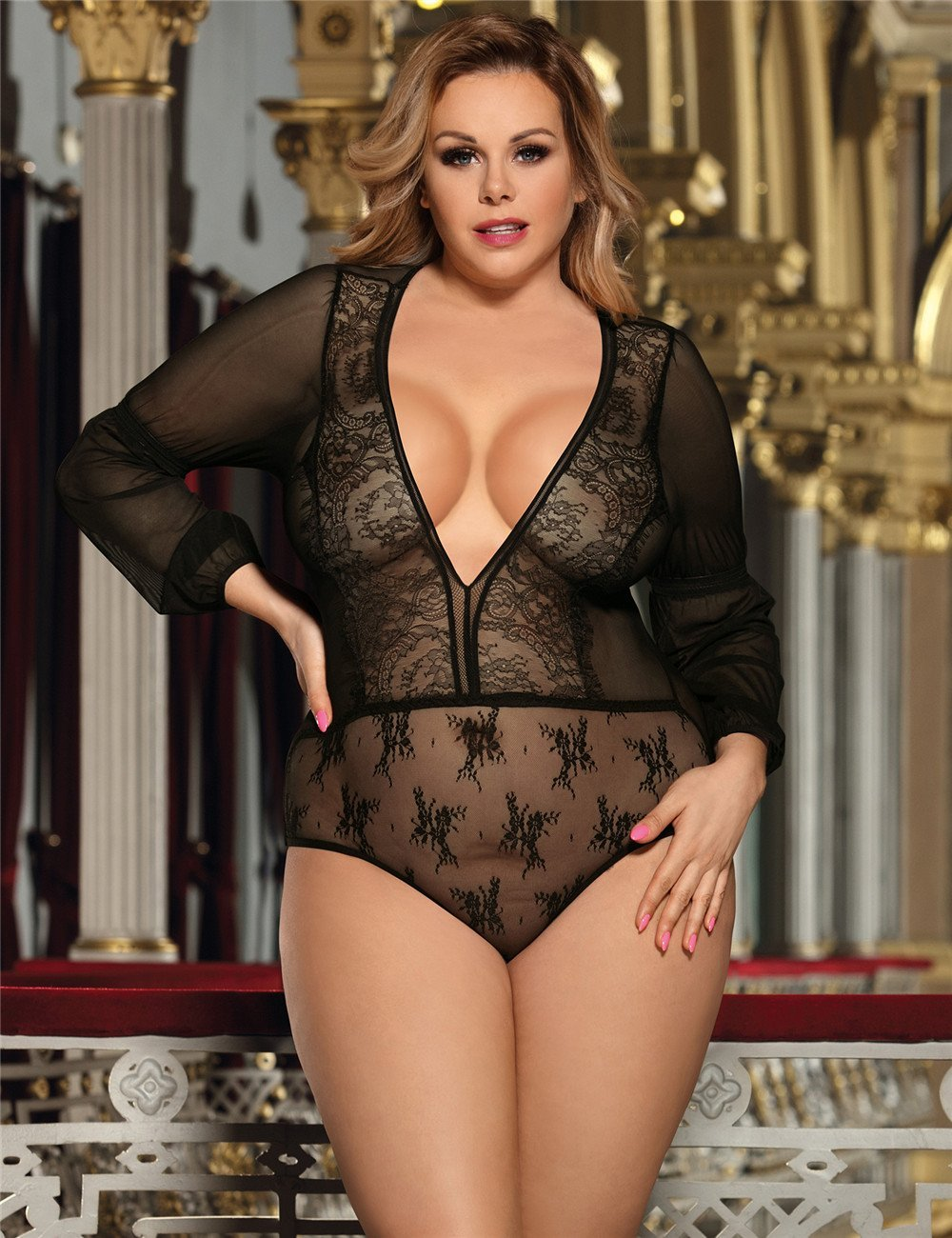 Exquisite Black Lace Long Sleeve Teddy Plus Size Lingerie