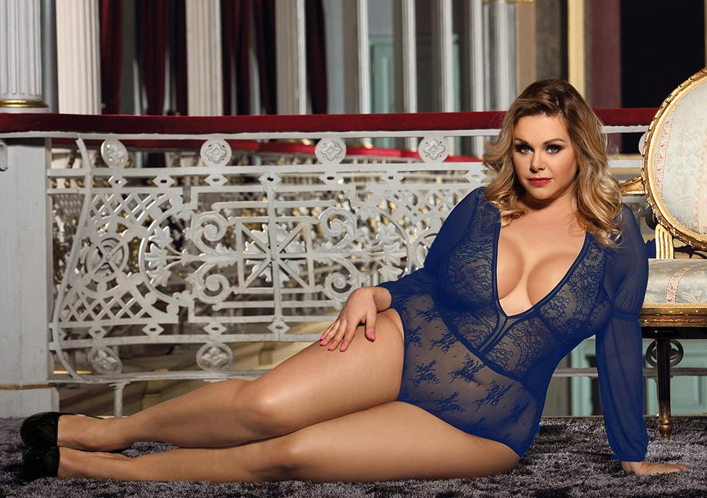 Exquisite Blue Lace Long Sleeve Teddy Plus Size Lingerie