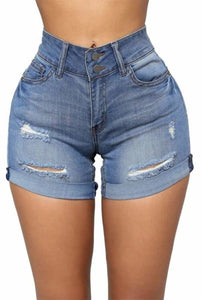 Faded Ultra Short Ripped Turn-Up Ladies Denim Shorts