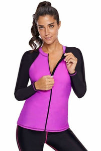 Color Block Zip-Down Fuchsia Black Long Sleeve Swim Top