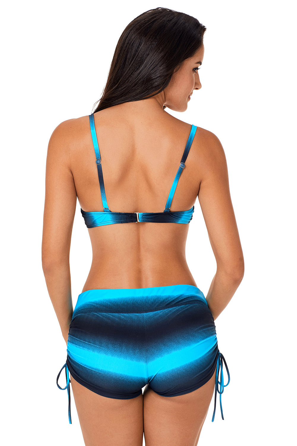 Blue Black Gradient Print Two Piece Swimsuit