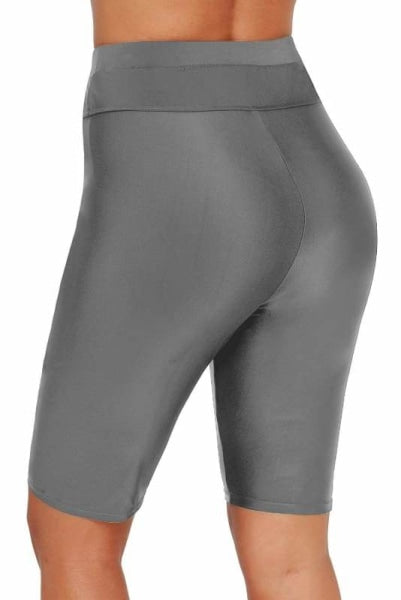 Grey High Waist Capri Swimsuit Bottoms