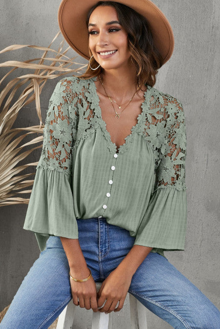 Green Crochet Lace Bell Sleeve Blouse