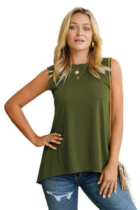 Green Sleeveless High Low Tank Top