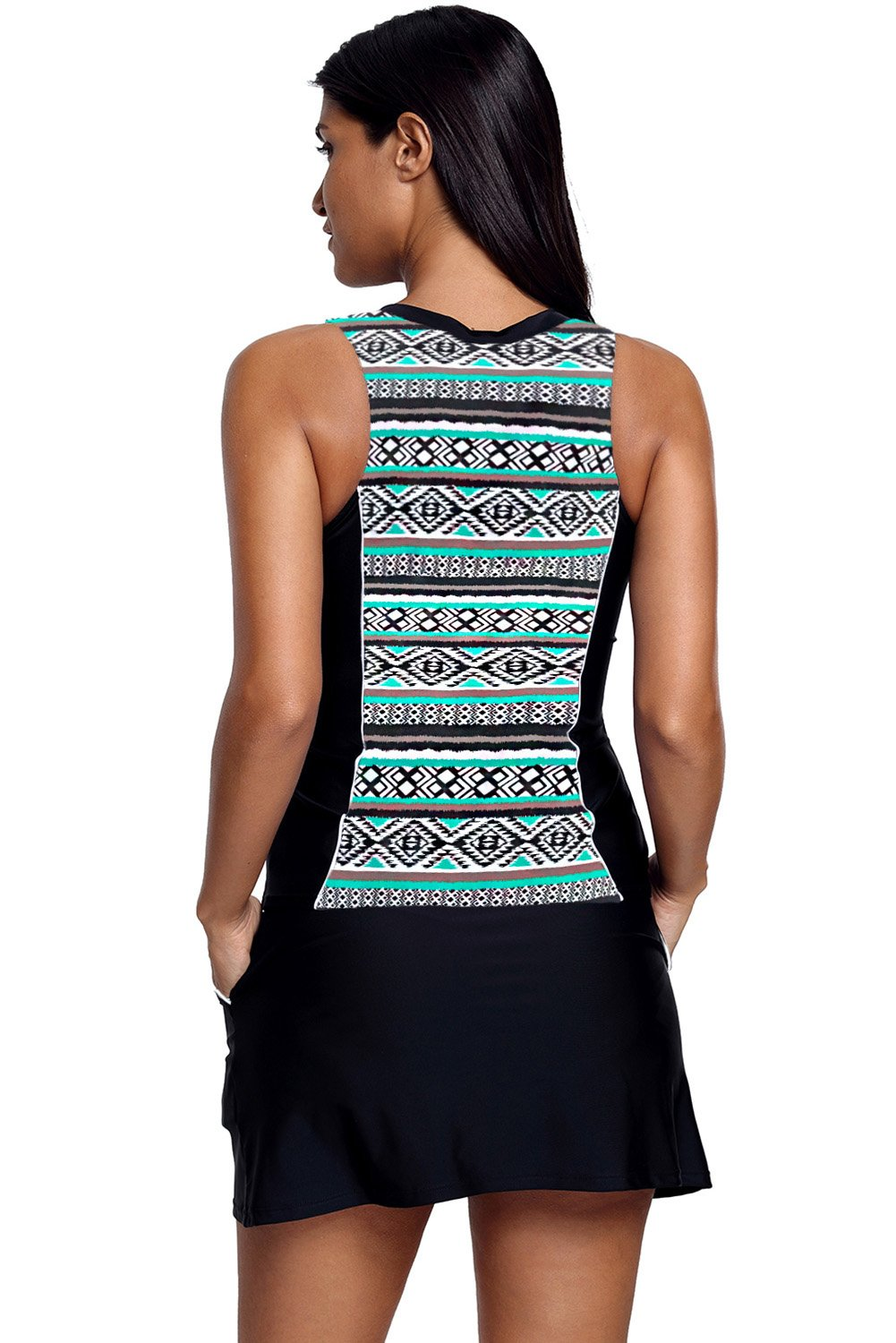 Green Tribal Print Zipper Up Skirtini Two Piece Swimsuit