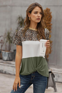 Green Color Block Leopard T-Shirt