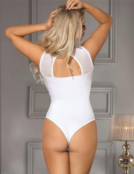 High Neck Cut Out Back Sexy White Lace Teddy Bodysuit