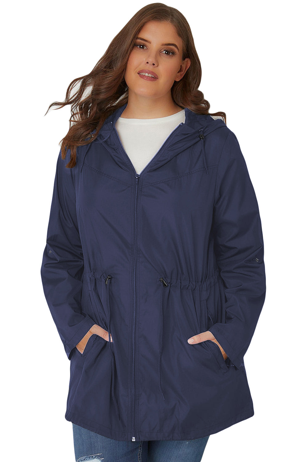 Navy Blue Hooded Ladies Plus Size Parka Jackets