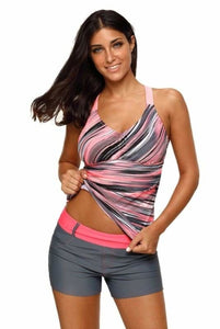 Fuzzy Striped Print Strappy Back Pink Tankini Swim Top