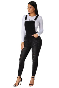 Ladies Black Wash Distressed Denim Jean Dungarees