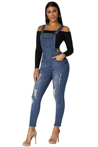 Ladies Light Blue Wash Distressed Denim Jean Dungarees