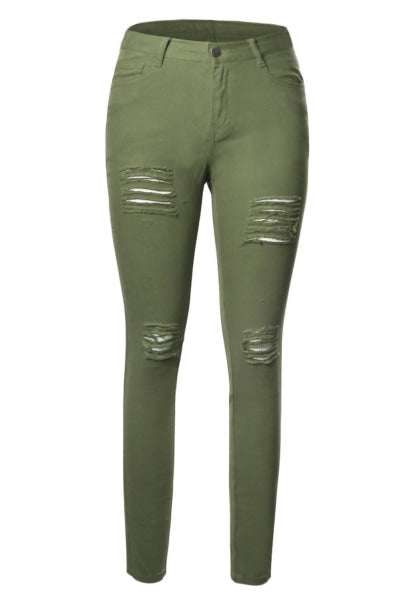 Ladies Green Ripped Front Stretch Denim Pants