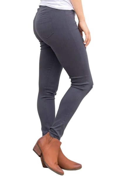 Ladies Grey Ripped Front Stretch Denim Pants