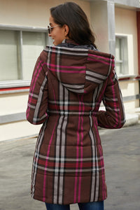 Ladies Long Quilted Plaid Hooded Coat
