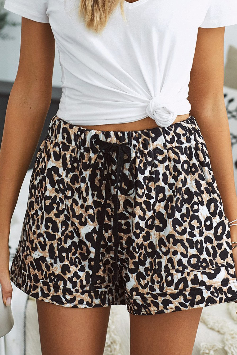 Leopard Print Elastic Waist Pocketed Shorts