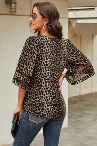 Leopard Print Flare Sleeve Blouse