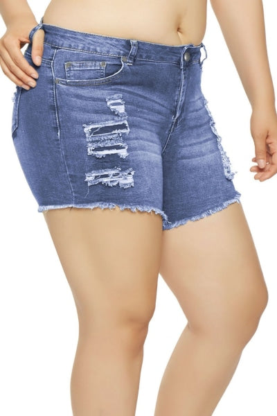 Light Blue Frayed Denim Shorts For Ladies