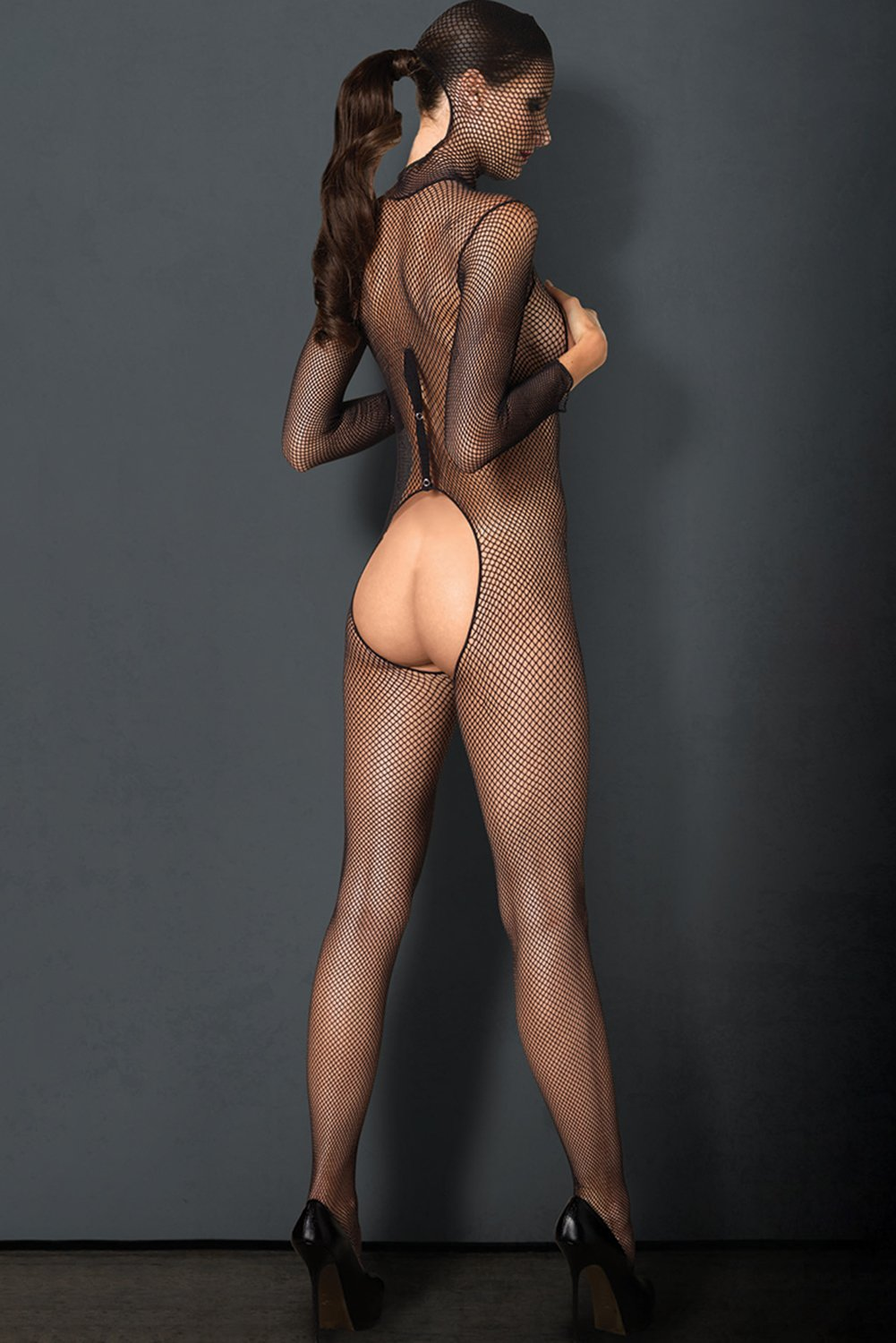 Long Sleeve Open Cup Fishnet Bodystocking
