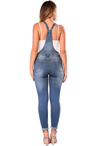 Medium Blue Wash Slit Knee Denim Jumpsuit Dungarees