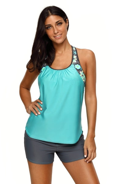 Mint Green Floral T-Back Tankini Swim Top