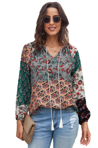 Multicolor Gypsy Floral Print Peasant Blouse