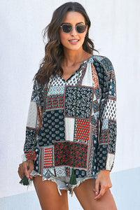 Multicolor Gypsy Patch Print Pleated Blouse