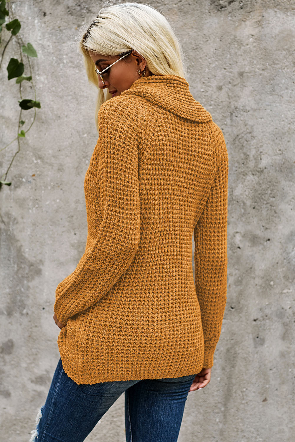Mustard Turtleneck Buttoned Sweater