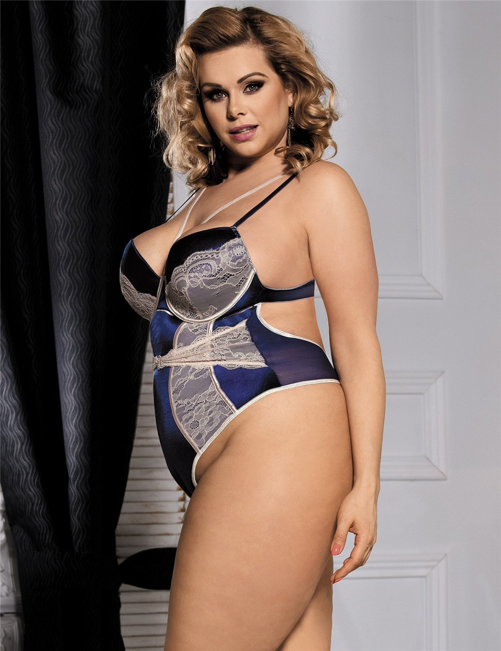 Navy Blue Lace Patchwork Sexy Plus Size Lingerie Teddy