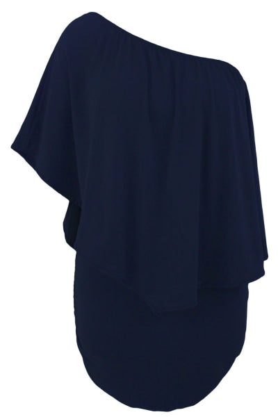 Navy Blue Layered Bodycon Mini Poncho Dress