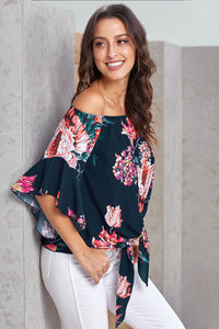 Navy Blue Off The Shoulder Floral Print Chiffon Blouse