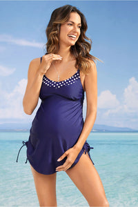 Navy Polka Dot Detail Maternity Tankini Swimsuit Set